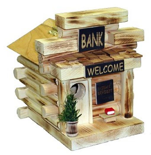 Bank Log Cabin Birdhouse