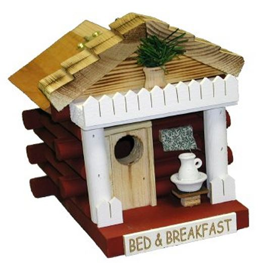 Bed and Breakfast Log Cabin Birdhouse
