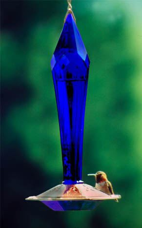 Cobalt Blue Faceted Glass & Copper Humming Bird Feeder