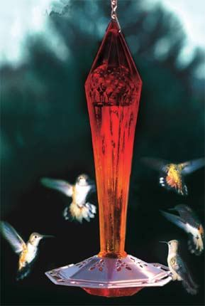 Ruby Red Faceted Glass & Copper Hummingbird Feeder